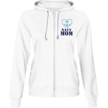 Navy Mom Junior Fit Bella Fleece Raglan Full Zip Hoodie