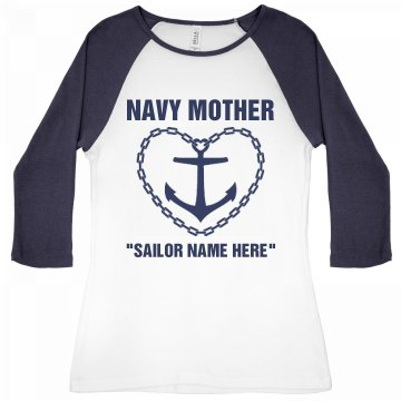 Navy Mother Emblem Junior Fit Bella 1x1 Rib 3/4 Sleeve Raglan Tee