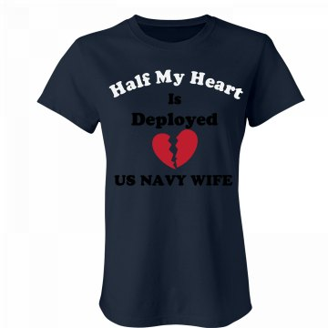 Navy Wife-broken heart Junior Fit Bella Favorite Tee