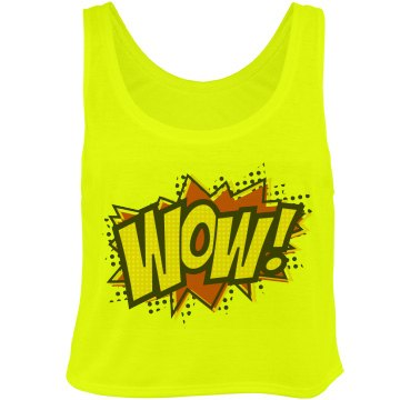 Neon WOW! Comic Top Bella Flowy Boxy Lightweight Crop Top Tank Top