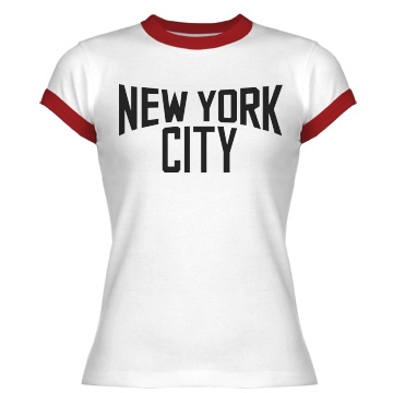 New York City Junior Fit Bella 1x1 Rib Ringer Tee