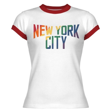 New York City Rainbow Junior Fit Bella 1x1 Rib Ringer Tee