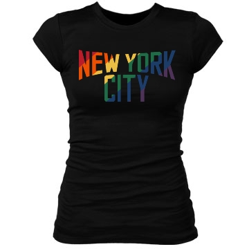 New York City Rainbow Junior Fit Bella Sheer Longer Length Rib Tee