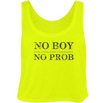 No Boy, No Prob Neon Bella Flowy Boxy Lightweight Crop Top Tank Top