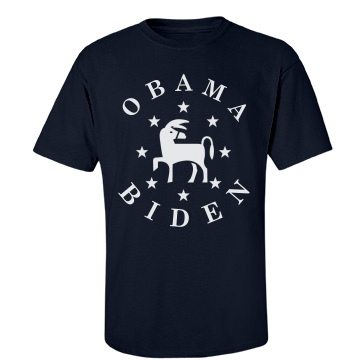 Obama Biden Donkey Stars Unisex Gildan Heavy Cotton Crew Neck Tee