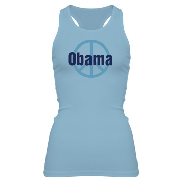 Obama Peace Sign Junior Fit Bella Sheer Longer Length Rib Racerback Tank Top