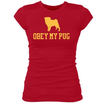 Obey My Pug Junior Fit Bella Sheer Longer Length Rib Tee