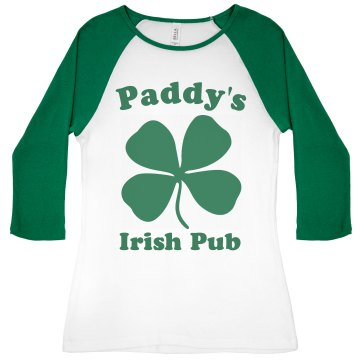 Paddy's Irish Pub Junior Fit Bella 1x1 Rib 3/4 Sleeve Raglan Tee