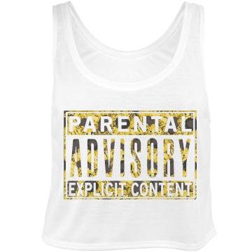 Parental Advisory Yellow Bella Flowy Boxy Lightweight Crop Top Tank Top