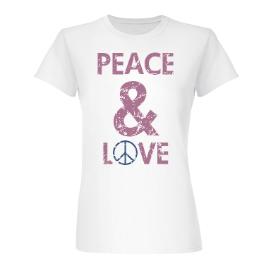 Peace & Love Distressed Junior Fit Basic Bella Favorite Tee