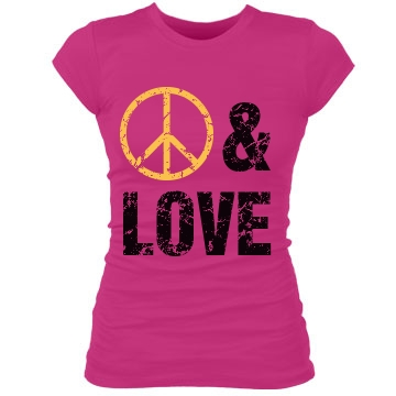 Peace And Love Distressed Junior Fit Bella Sheer Longer Length Rib Tee