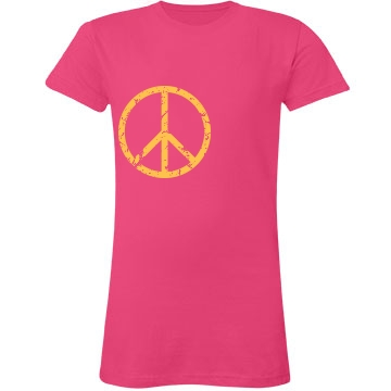 Peace And Love Distressed Junior Fit LA T