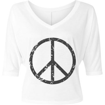 Peace Bella Flowy Lightweight V-Neck Half-Sleeve Tee