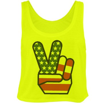 Peace in the USA Bella Flowy Boxy Lightweight Crop Top Tank Top