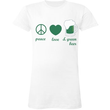Peace, Love & Green Beer Junior Fit LA T Fine Jersey Tee