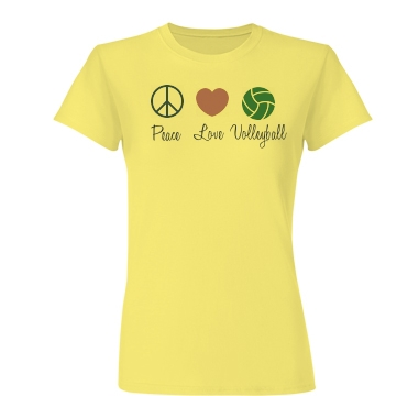 Peace, Love & Volleyball Junior Fit Basic Bella Favorite Tee