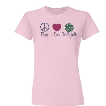 Peace, Love & Volleyball Junior Fit Basic Tultex Fine Jersey Tee