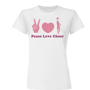 Peace Love Cheer Junior Fit Basic Tultex Fine Jersey Tee