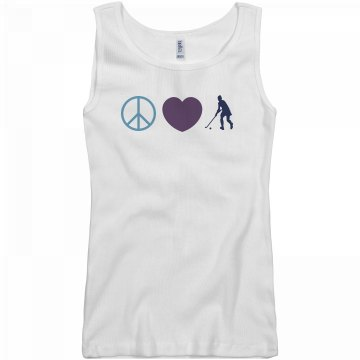 Peace, Love, Field Hockey Junior Fit Basic Bella 2x1 Rib Tank Top