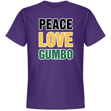 Peace, Love, Gumbo Gras Unisex Anvil Lightweight Fashion Tee