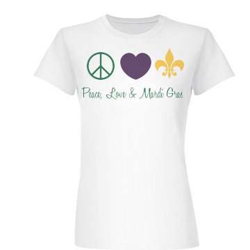 Peace, Love, Mardi Gras Junior Fit Basic Bella Favorite Tee