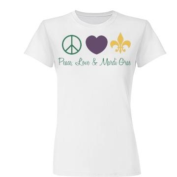Peace, Love, Mardi Gras Junior Fit Basic Tultex Fine Jersey Tee