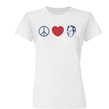 Peace Love Paul Junior Fit Basic Tultex Fine Jersey Tee
