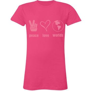 Peace Love Worlds Junior Fit LA T Fine Jersey Tee