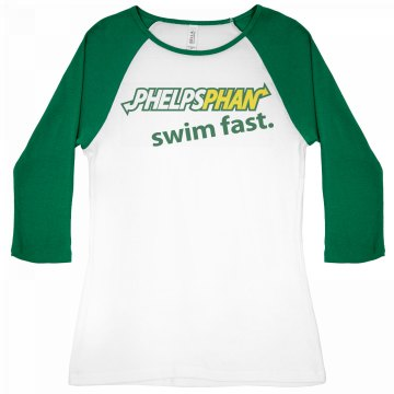 Phelps Phan Swim Fast Junior Fit Bella 1x1 Rib 3/4 Sleeve Raglan Tee