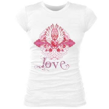 Pink Love Junior Fit Bella Sheer Longer Length Rib Tee