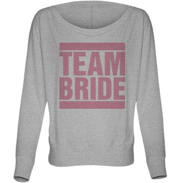 Pink Team Bride Bella Flowy Lightweight Long Sleeve Dolman Tee