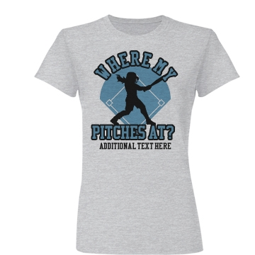 Pitches At Softball Team Junior Fit Basic Bella Favorite Tee