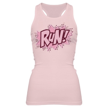 Pow Run For Charity Junior Fit Bella Sheer Longer Length Rib Racerback Tank Top