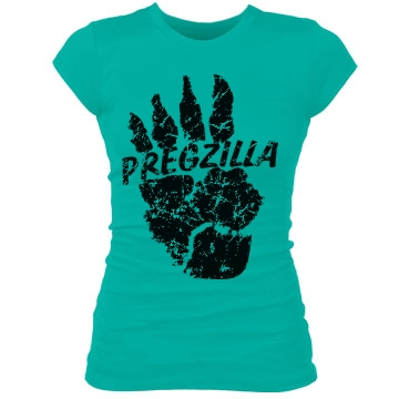 Pregzilla Foot Print  Junior Fit Bella Sheer Longer Length Rib Tee