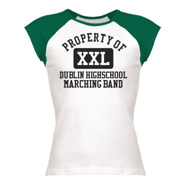 Property Of Band  Junior Fit Bella 1x1 Rib Cap Sleeve Raglan Tee