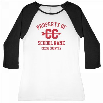 Property of Cross Country Junior Fit Bella 1x1 Rib 3/4 Sleeve Raglan Tee