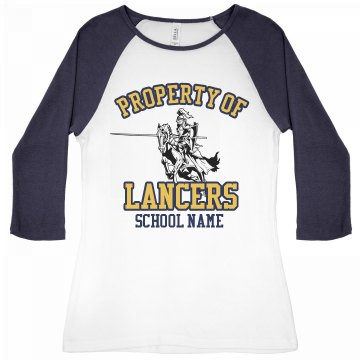 Property of Lancer Sports Junior Fit Bella 1x1 Rib 3/4 Sleeve Raglan Tee