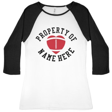 Property of Player Name Junior Fit Bella 1x1 Rib 3/4 Sleeve Raglan Tee