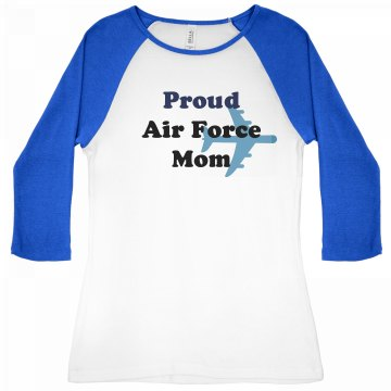 Proud Air Force Mom Junior Fit Bella 1x1 Rib 3/4 Sleeve Raglan Tee
