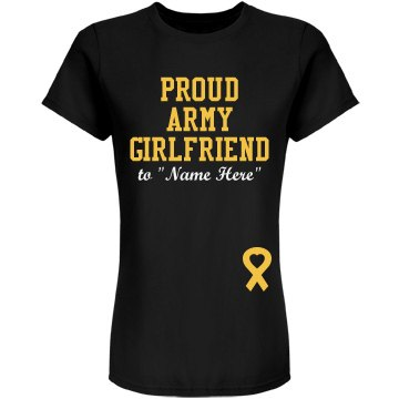 Proud Army Girlfriend Junior Fit American Apparel Fine Jersey Tee