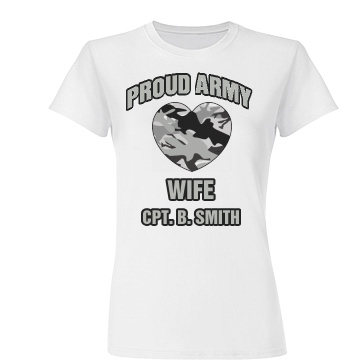 Proud Army Wife Junior Fit Basic Tultex Fine Jersey Tee