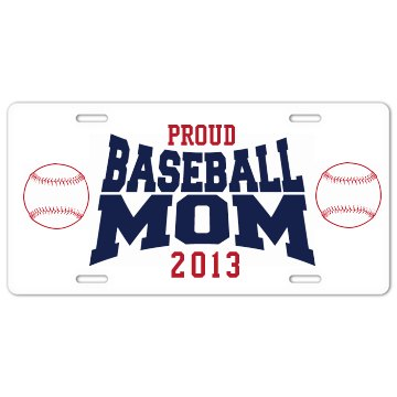 Proud Baseball Mom Plates