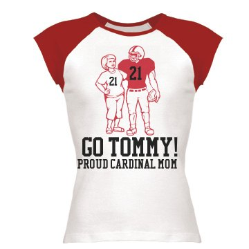 Proud Football Mom w/ Bck Junior Fit Bella 1x1 Rib Cap Sleeve Raglan Tee
