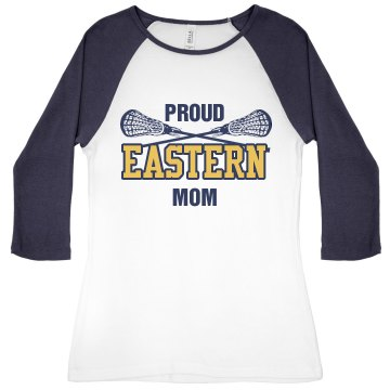Proud Lacrosse Mom Junior Fit Bella 1x1 Rib 3/4 Sleeve Raglan Tee