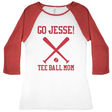 Proud Tee Ball Mom Junior Fit Bella 1x1 Rib 3/4 Sleeve Raglan Tee