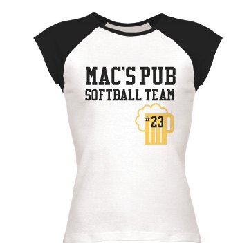 Pub Softball Team  Junior Fit Bella 1x1 Rib Cap Sleeve Raglan Tee