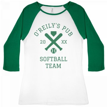 Pub Softball Team Junior Fit Bella 1x1 Rib 3/4 Sleeve Raglan Tee