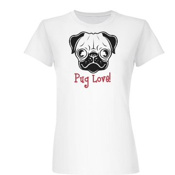 Pug Love Junior Fit Basic Bella Favorite Tee