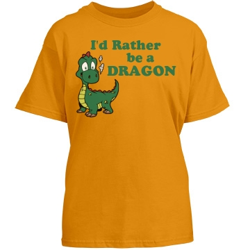 Rather Be Dragon Youth Gildan Heavy Cotton Crew Neck Tee