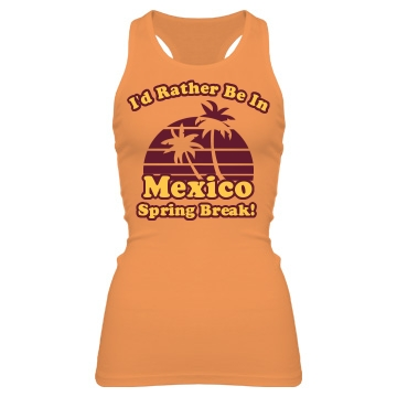 Rather Be In Mexico Junior Fit Bella Sheer Longer Length Rib Racerback Tank Top